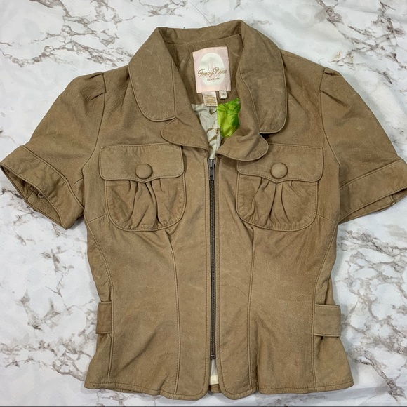 Tracy Reese Jackets & Blazers - Tracy Reese Tan Leather Zip Short Sleeve Jacket
